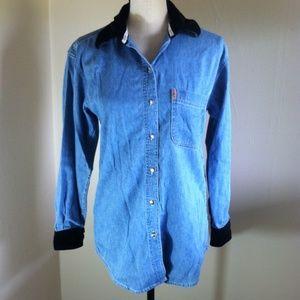 Vintage Express Denim & Velour Trim Shirt